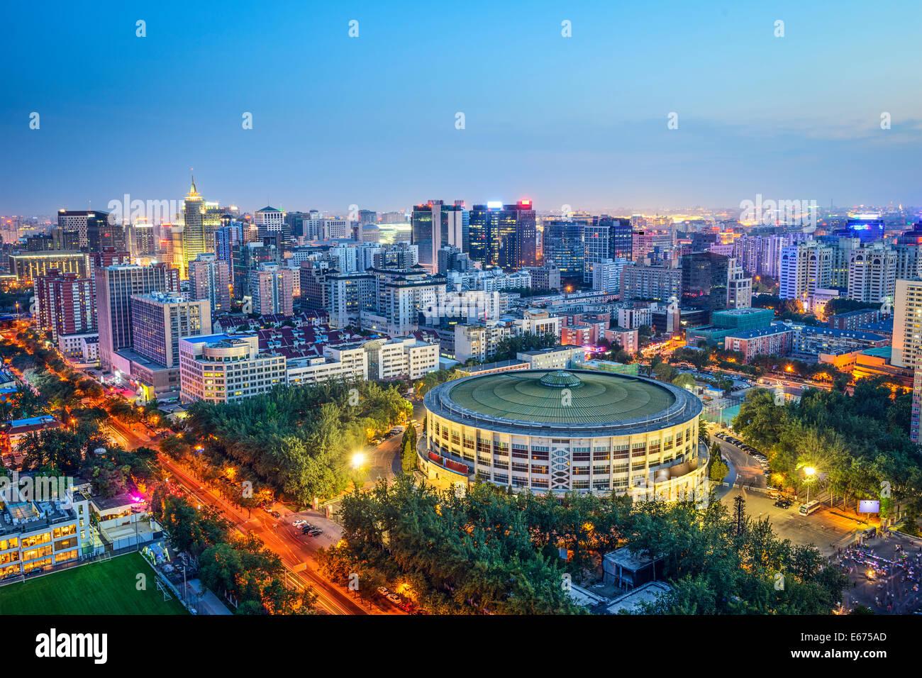 Peking, China Stadtbild über Arbeitnehmer Reithalle im Chaoyang District. Stockbild