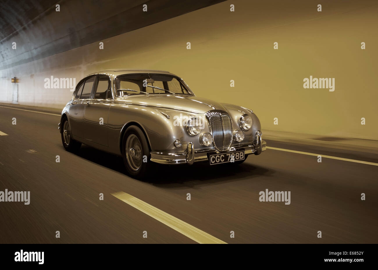 Daimler V8 Oldtimer, oft fälschlicherweise für einen Jaguar Mk2 Stockbild