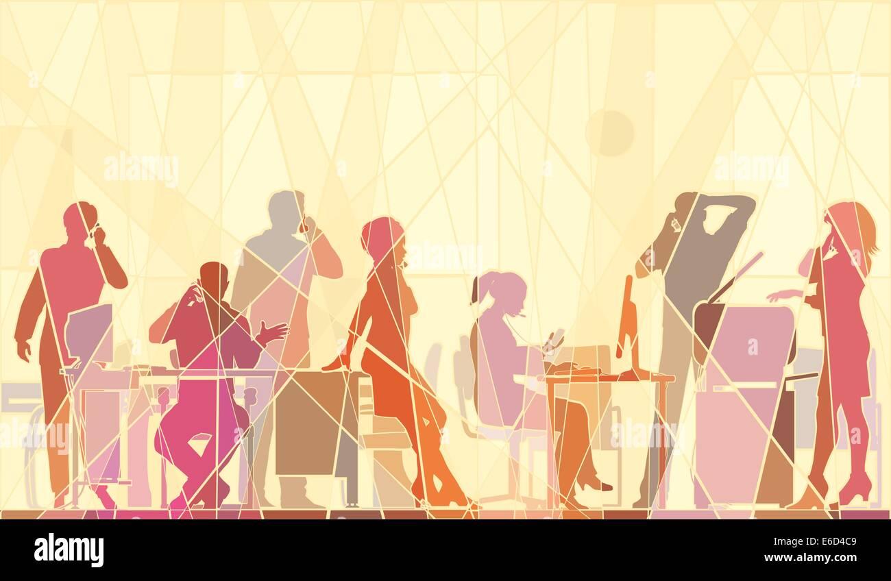 Editierbare Vektorgrafik buntes Mosaik des Geschäfts Menschen in einem Büro alle sprechen auf Handys Stock Vektor
