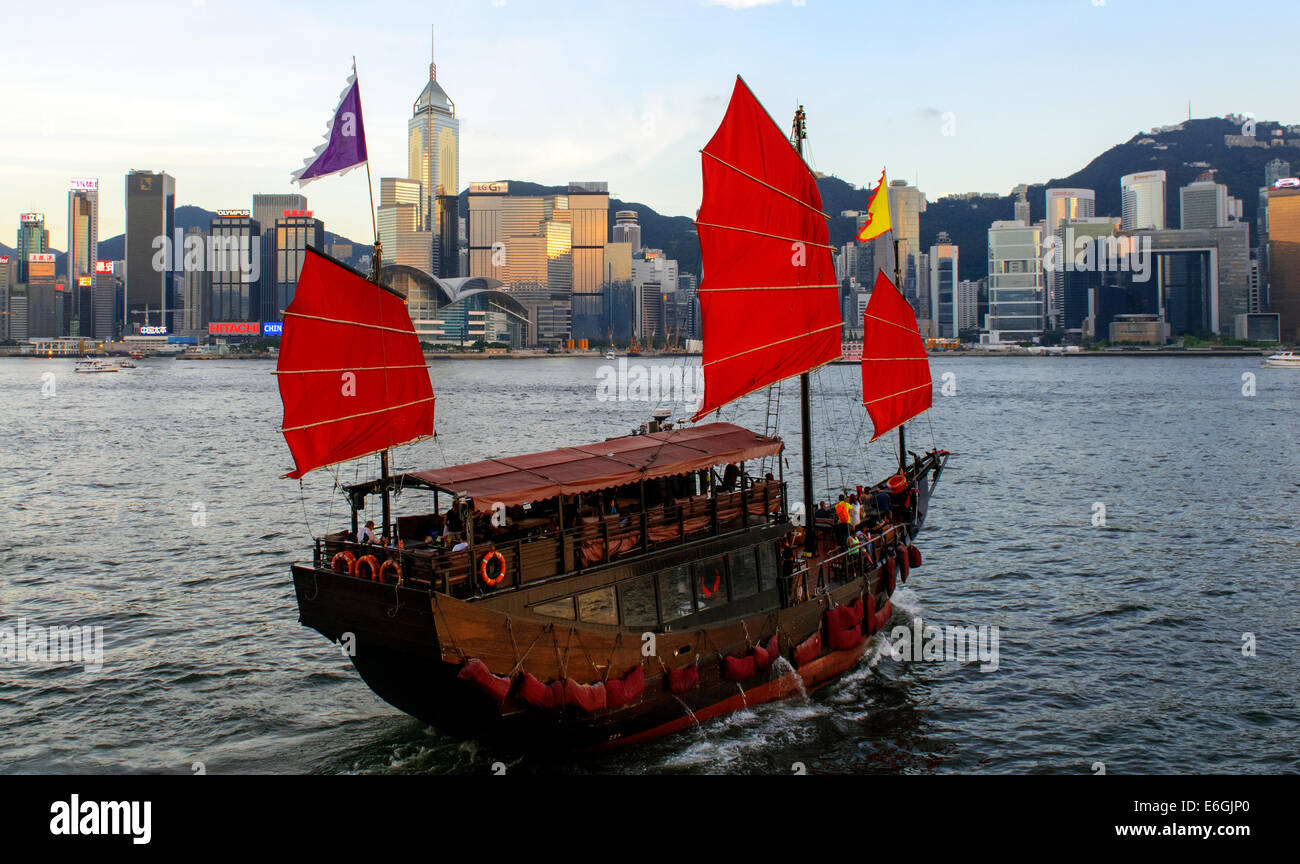 Traditionelle chinesische Dschunke, Victoria Harbour, Hong Kong, China. Stockbild