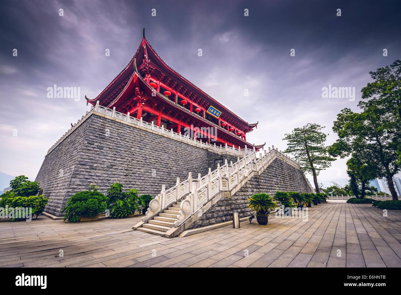 Fuzhou, China im historischen Zhenhai Tower. Stockbild