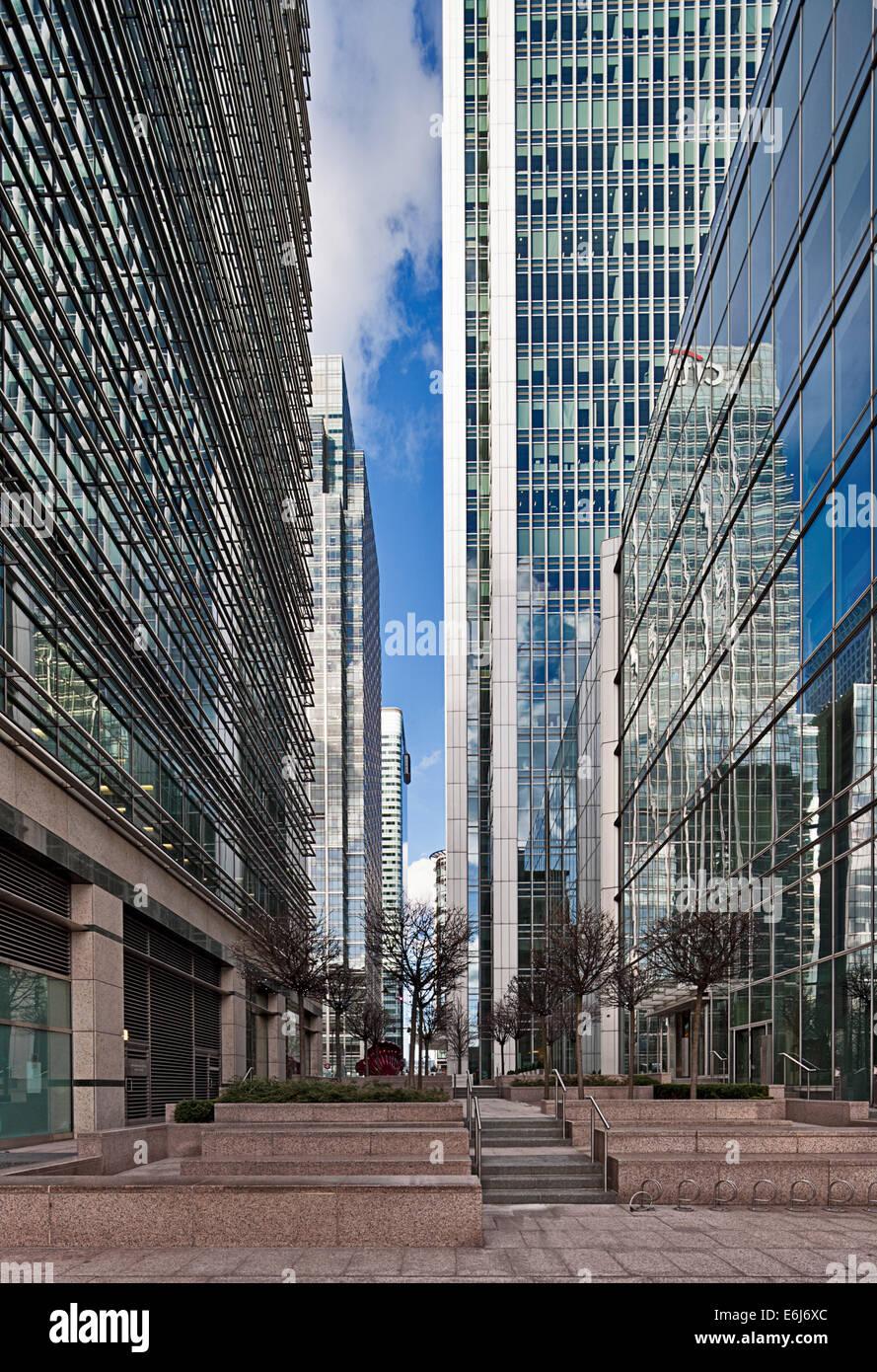 Straßenbild in Canary Wharf, Docklands. Stockbild