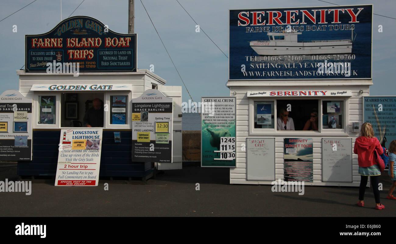 Laden Sie dieses Alamy Stockfoto Tickets werden verkauft von Gelassenheit Schuppen an gemeinsame, für Farne Insel reisen, NE England, UK - E6JB60