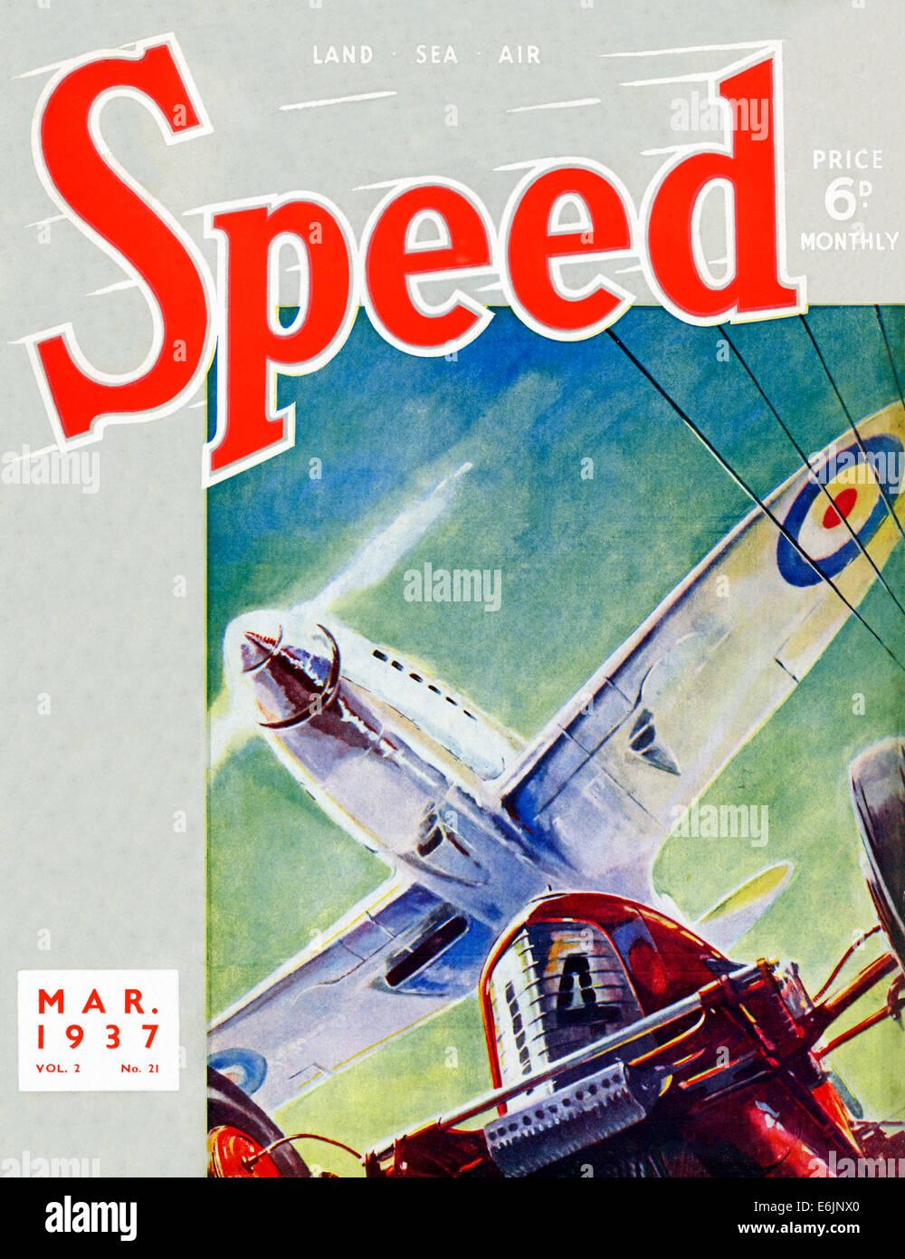 Geschwindigkeit, März 1937 Cover von den englischen Motorsport Magazin mit einem Spitfire Kämpfer fliegen Stockbild