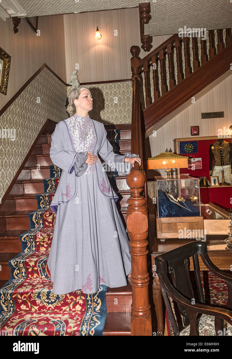 Schauspielerin spielt die Rolle von Henriette vergessen, Frau des Vizegouverneurs Amédée Forget in historischen Stockbild