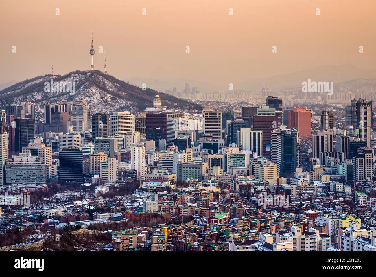 Skyline der Stadt Seoul, Südkorea. Stockbild