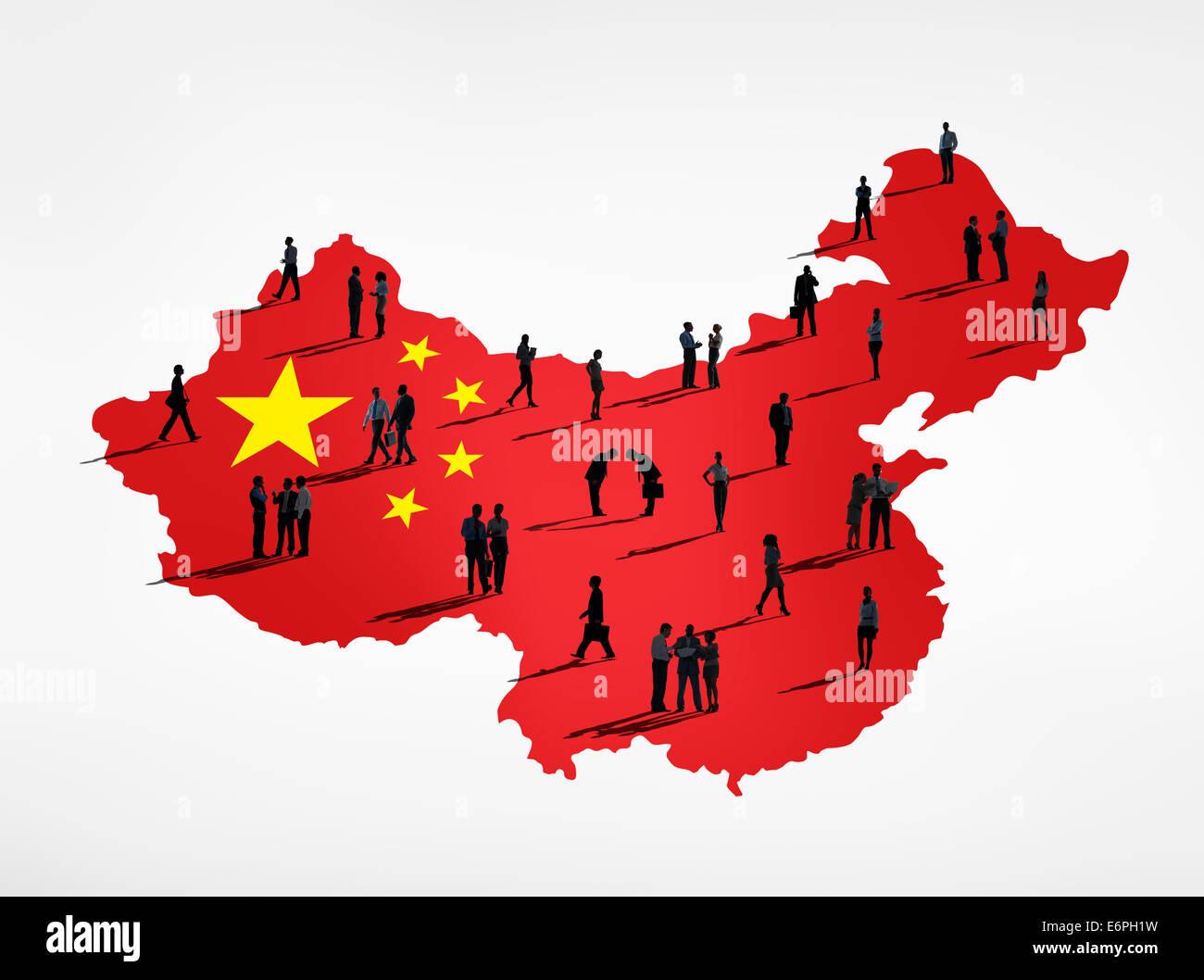 Chinesische Flagge und eine Gruppe von Geschäftsleuten. Stockbild