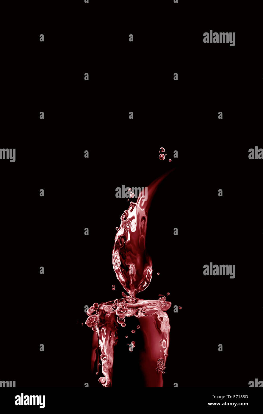 Eine beleuchtete dunkle rote Wasser Kerze aus roter Flüssigkeit hergestellt. Stockbild