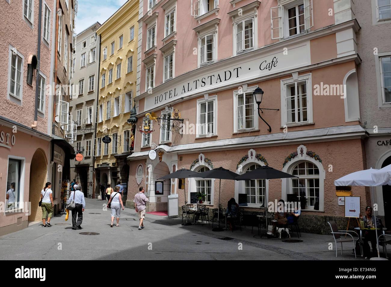 Hotel Altstadt in Salzburg, Österreich, Europa während der Salzburger Festspiele Stockbild