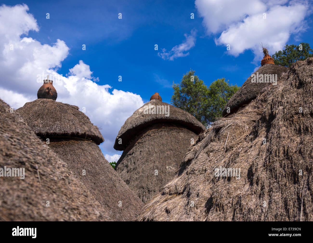 Konso Stamm traditionelle Häuser mit Töpfen auf der Oberseite, Konso, Omo-Tal, Äthiopien Stockbild