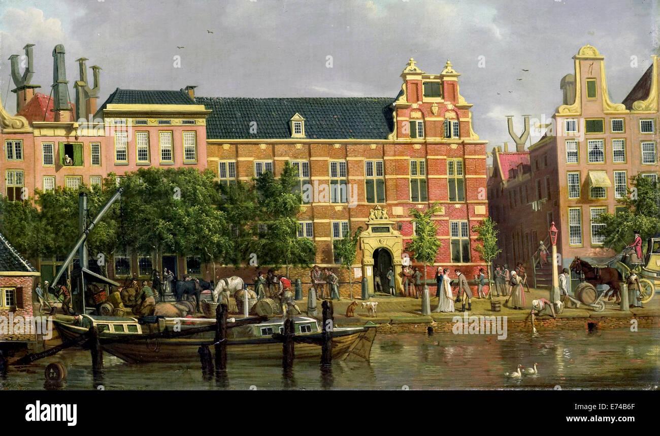 Die Lateinschule auf die Singel in Amsterdam - von Jacob Smies, 1802 Stockbild