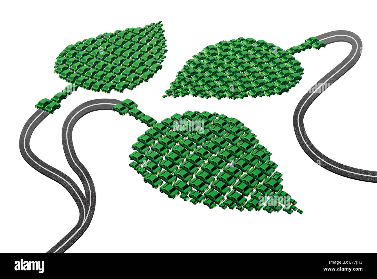 Grüne Transportkonzept als eine Gruppe von Autos und Autos in eine Blattform verbunden mit Straßen als Stockbild