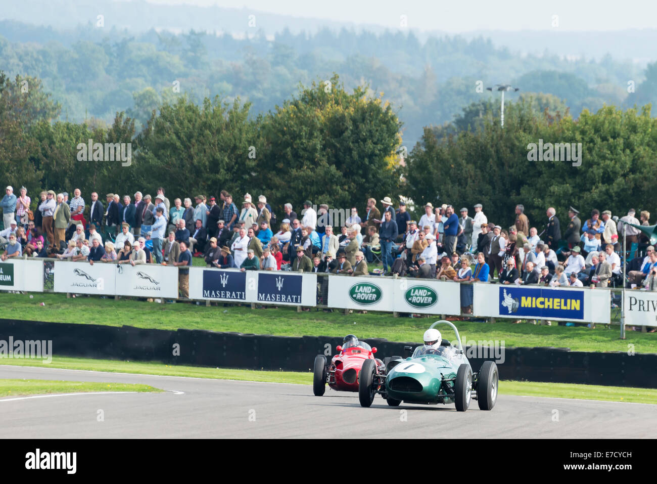 Chichester, West Sussex, UK. Sonntag, 14. September 2014. Beim Goodwood Revival, Goodwood motor Circuit. Am letzten Stockbild