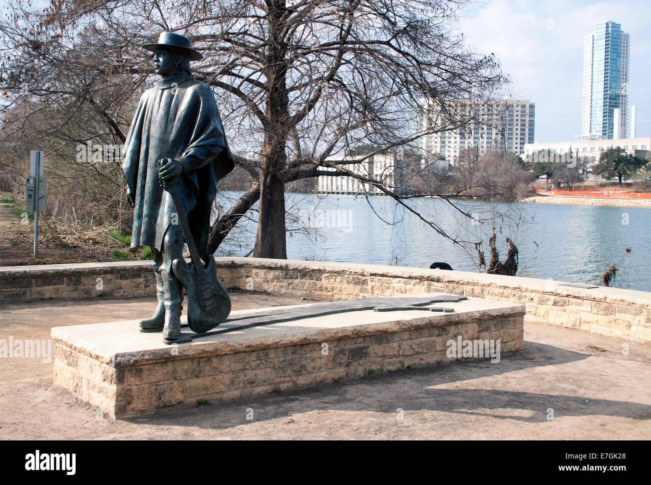 Stevie Ray Vaughn Statue in Austin Texas Stockbild