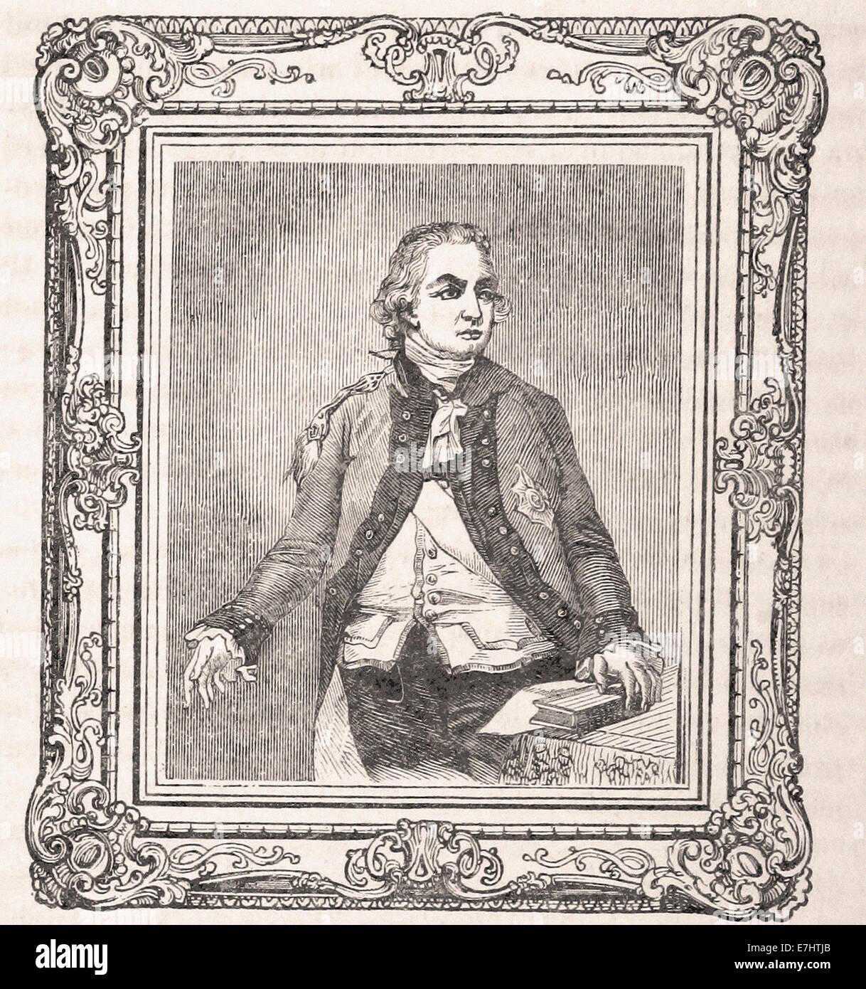 Porträt von Sir Henry Clinton - Gravur - XIX. Jahrhundert Stockbild