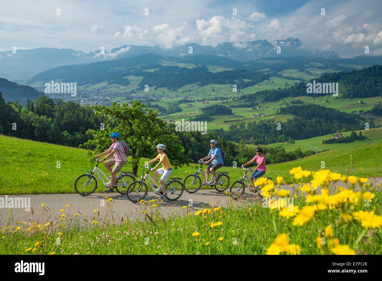 Herz-Route, Biker, Herzroute, Fahrrad, Fahrräder, Fahrrad, Fahrrad fahren, Kanton Appenzell, Innerroden, Flyer, Stockbild