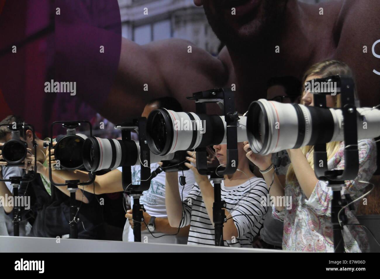 Photokina 2014, Besucherausweis Psychologieseite Teleobjektive, Köln, Deutschland. Nur zur redaktionellen Verwendung. Stockbild