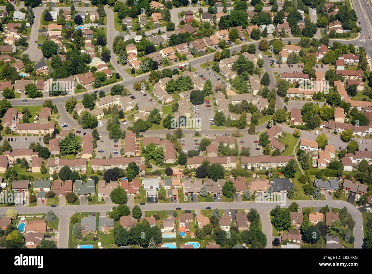Nordamerikanische Nachbarschaft, Antenne Stockbild