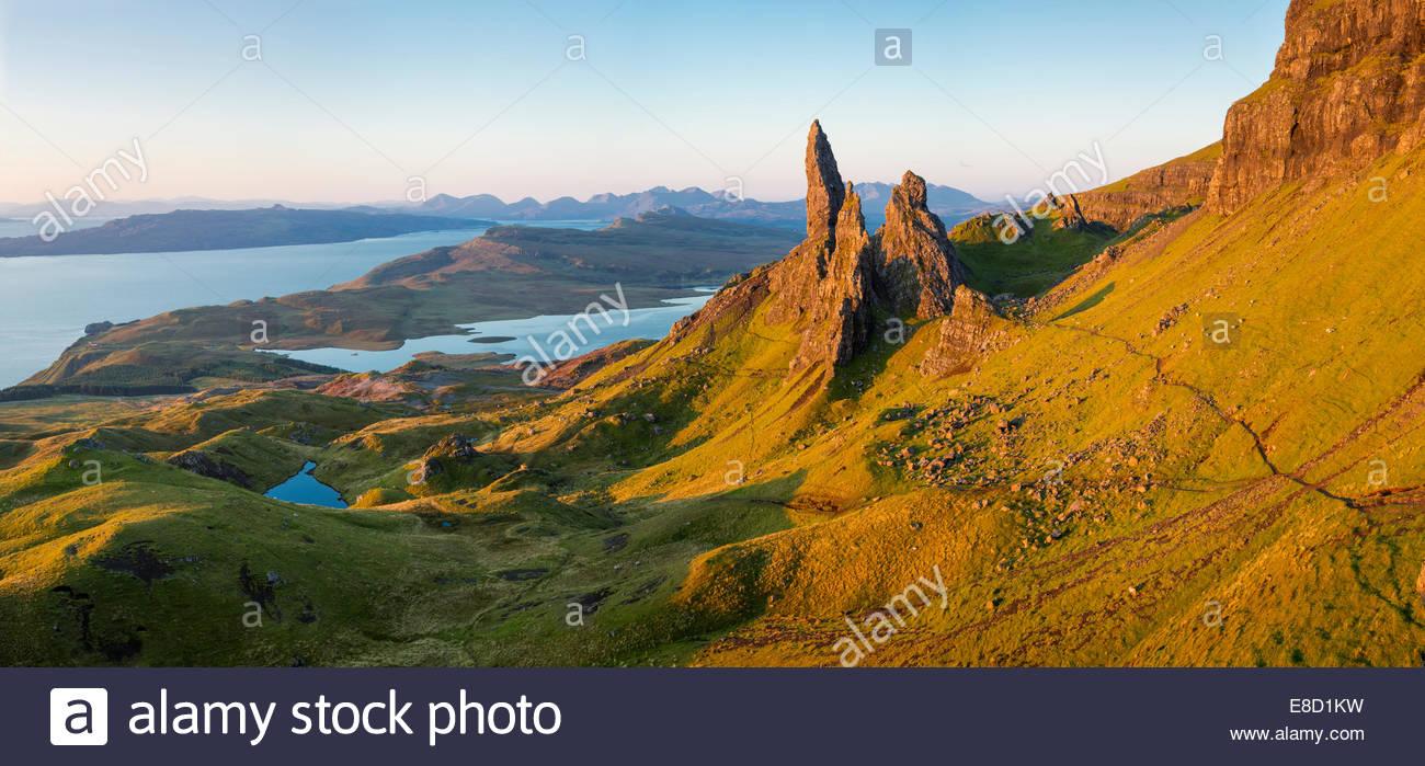 Morgendämmerung am Old Man of Storr, Trotternish Halbinsel Isle Of Skye, Schottland Stockbild