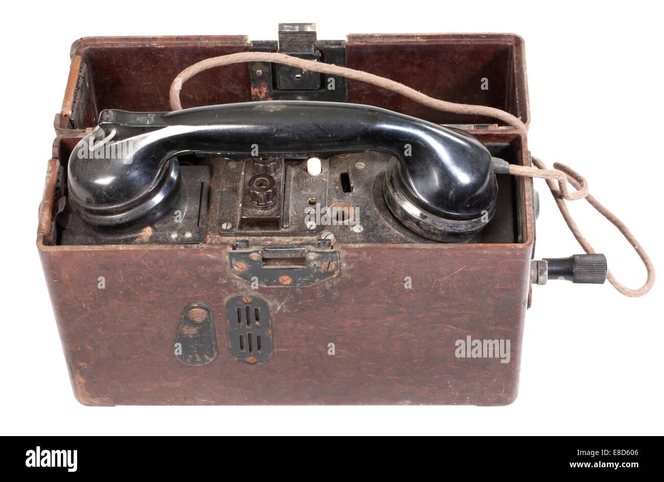 Feldtelefon, deutsche Wehrmacht, Zweiter Weltkrieg Stockbild