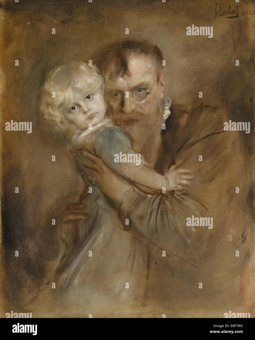 Selbstportrait mit Tochter Marion. Künstler: Lenbach, Franz von (1836-1904) Stockbild