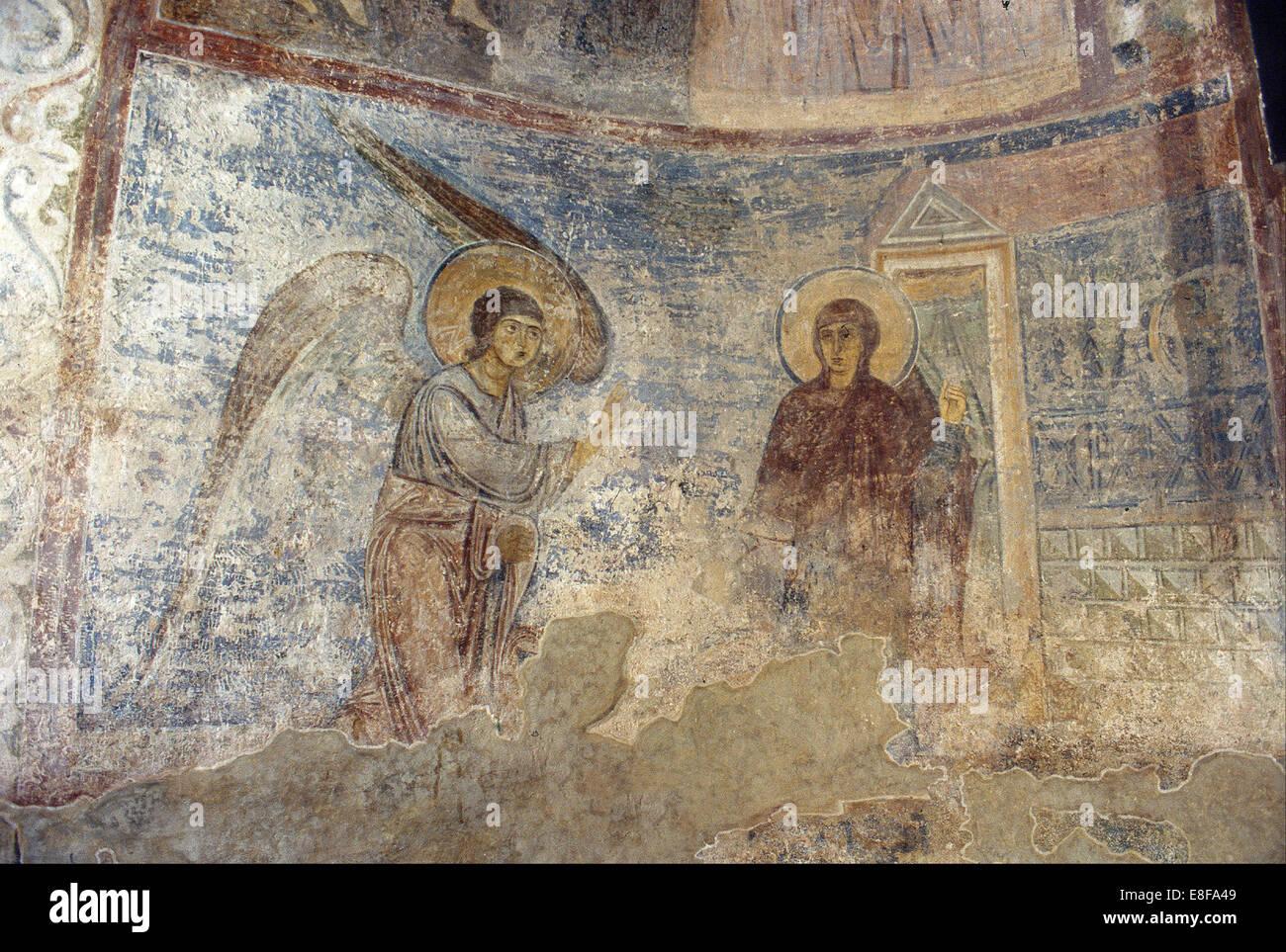 Die Verkündigung. Künstler: Alte russische Fresken Stockbild