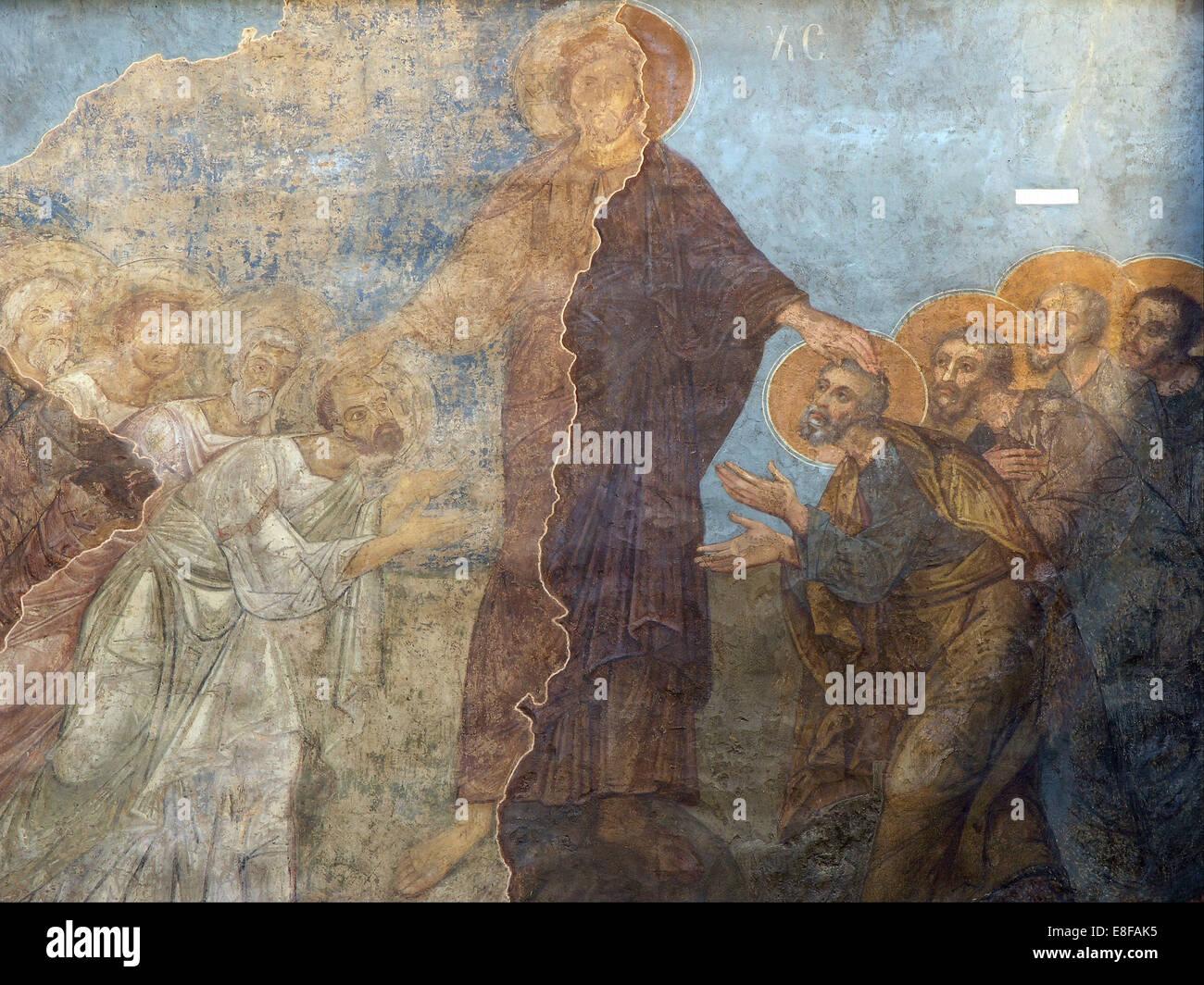 Das Pfingsten. Künstler: Alte russische Fresken Stockbild