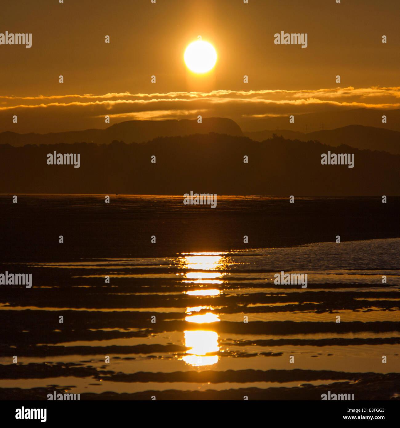 Landschaft mit Sonne spiegelt sich in Pfützen Stockbild