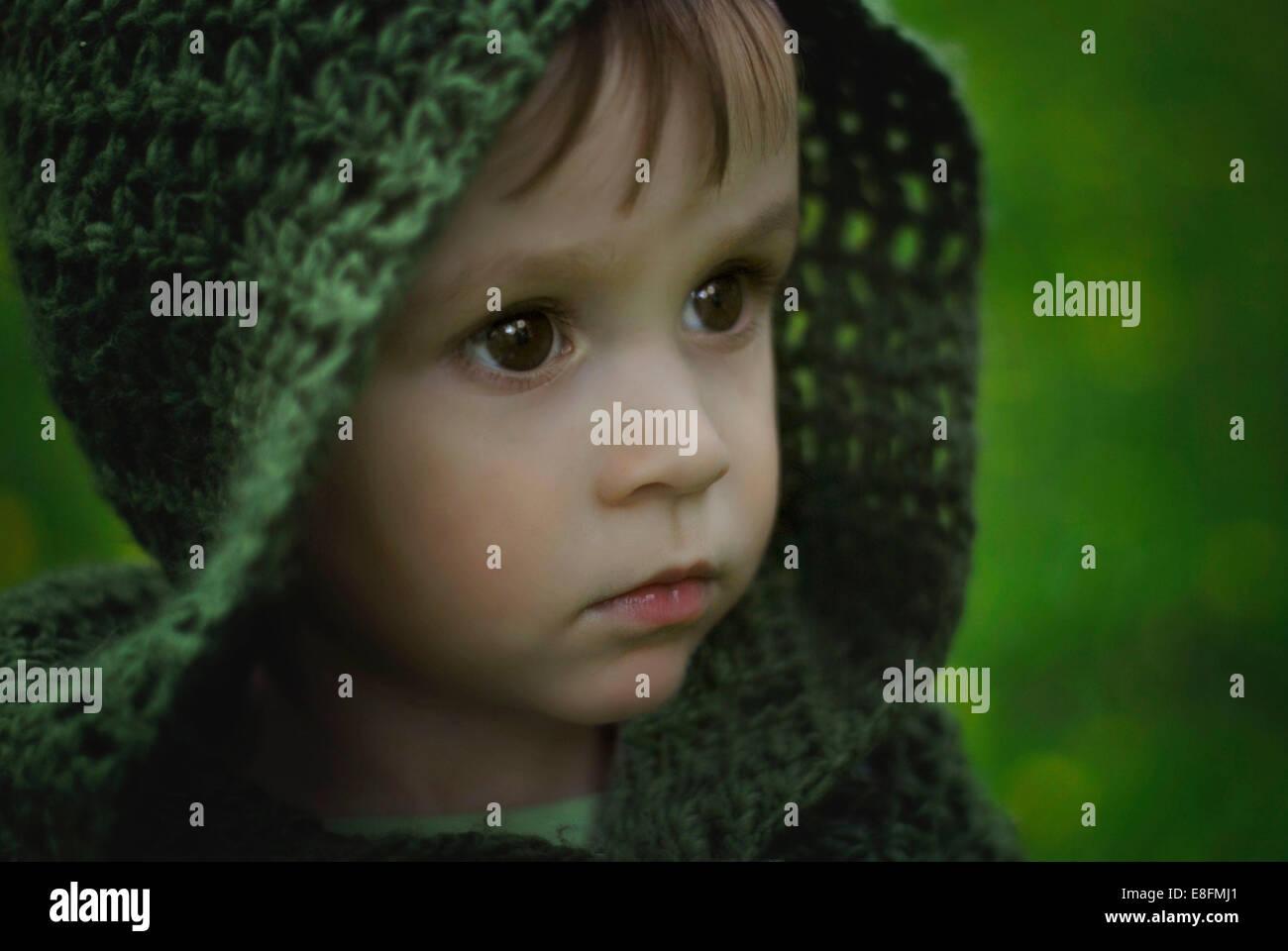 Polen, Porträt des jungen in grüne Haube Stockbild