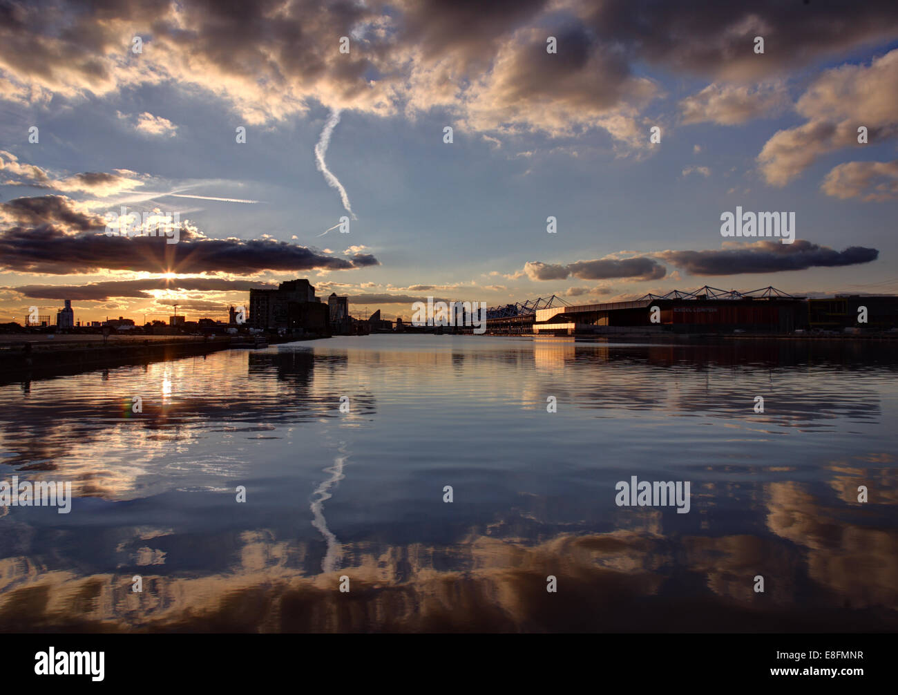 United Kingdom, England, London, Royal Victoria Docks in Canary Wharf Stockbild