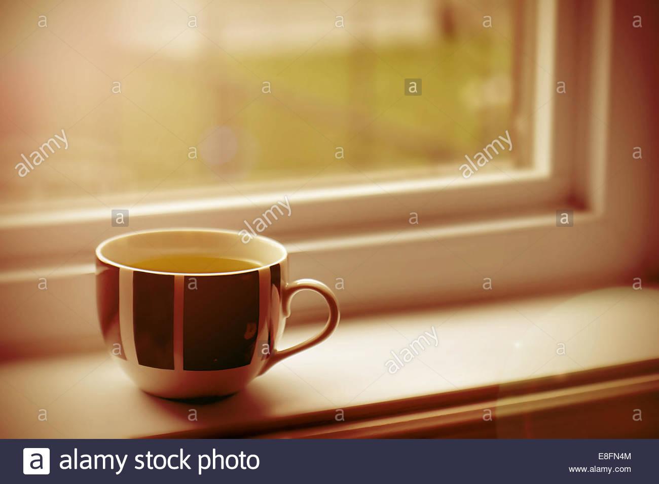 Cup am Fensterbrett Stockbild