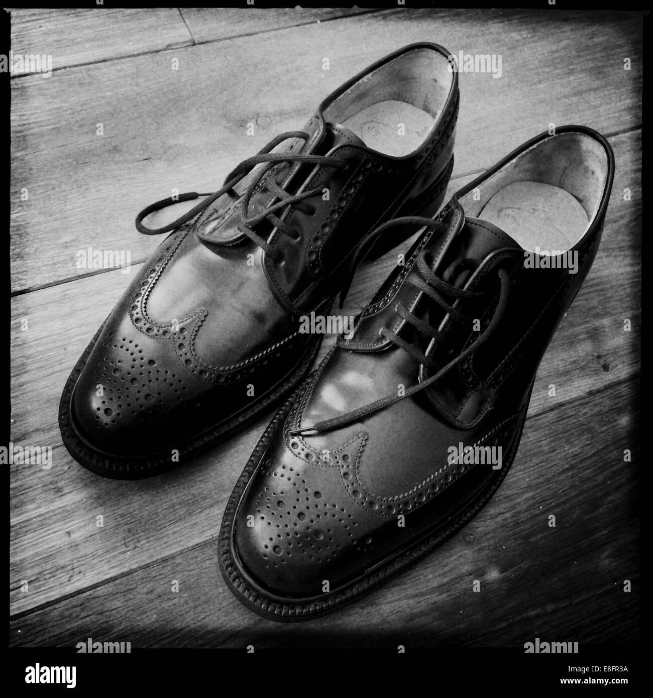 Klassische englische Brogue Schuhe Stockbild