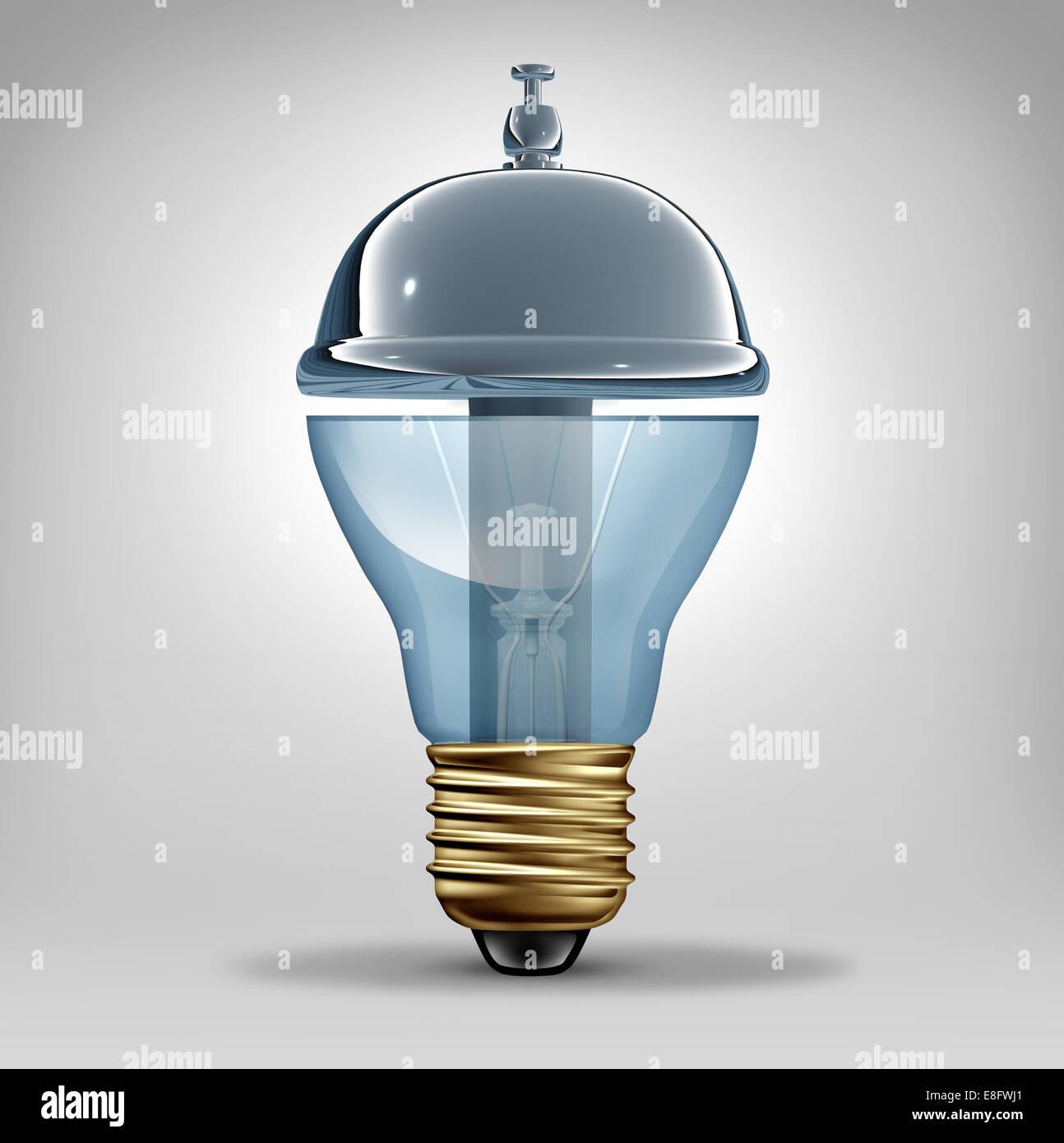 Kreativleistungen Konzept als eine drei dimensionale Glühbirne geformt wie eine Kunden Gastfreundschaft Service Stockbild