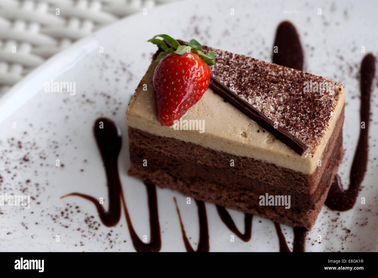 Indonesien, Java, Bandung, Stück Schokoladenkuchen Stockbild