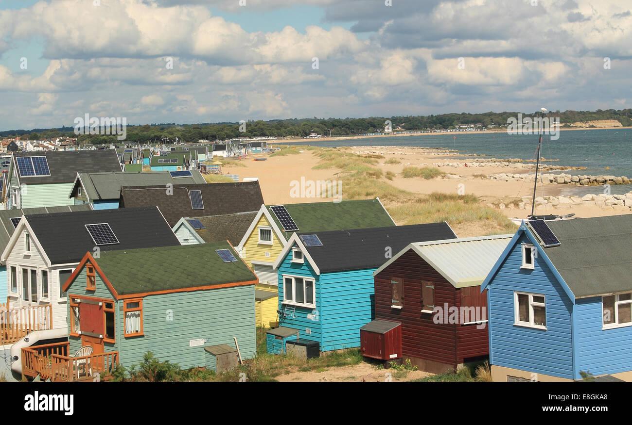 United Kingdom, England, Dorset, Strandhütten Stockbild