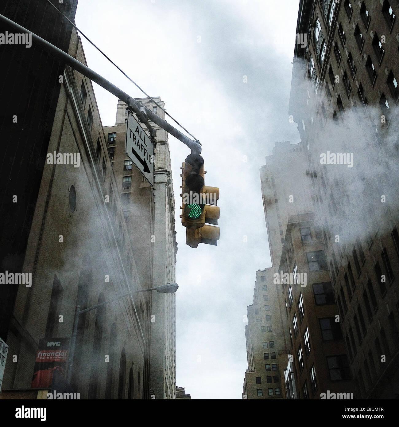 USA, New York, Ampel Stockbild