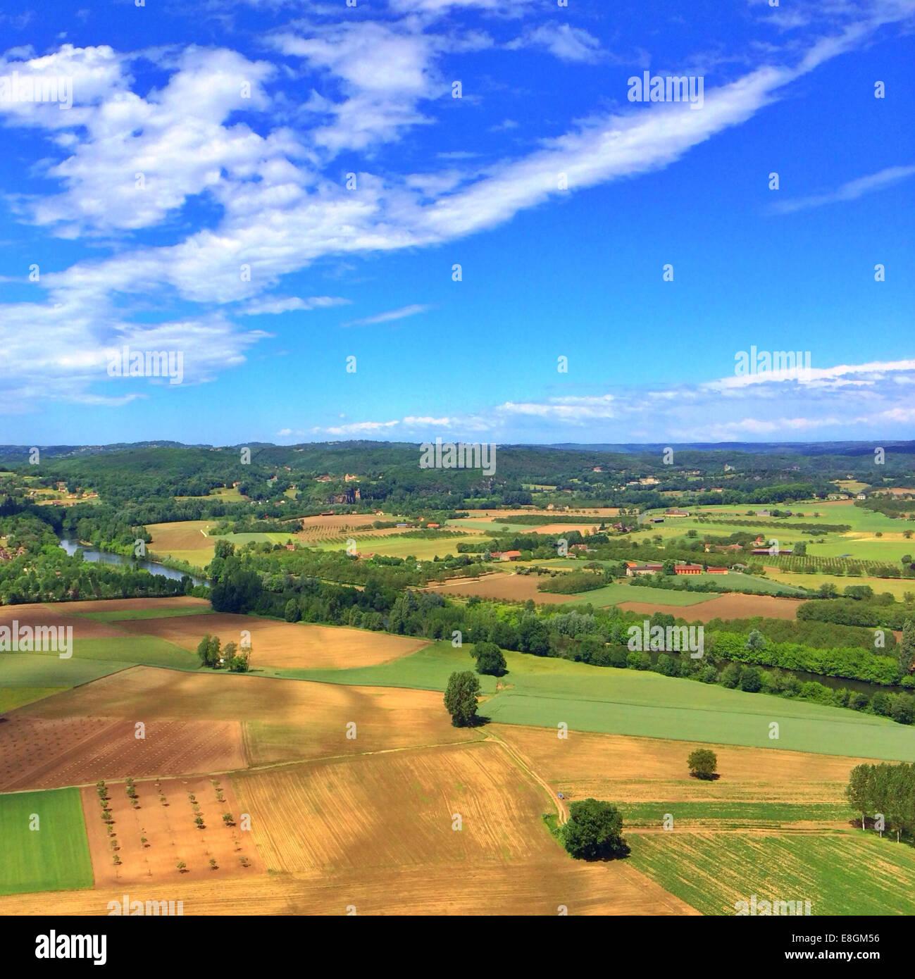 Luftaufnahme des ländlichen Landschaft, Lot, Frankreich Stockbild