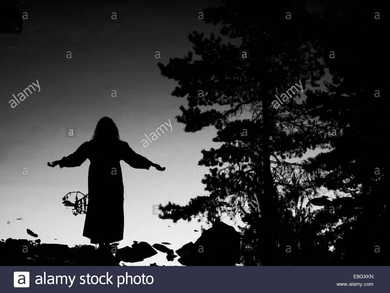 Reflexion der Silhouette Frau mit ausgestreckten in See Stockbild