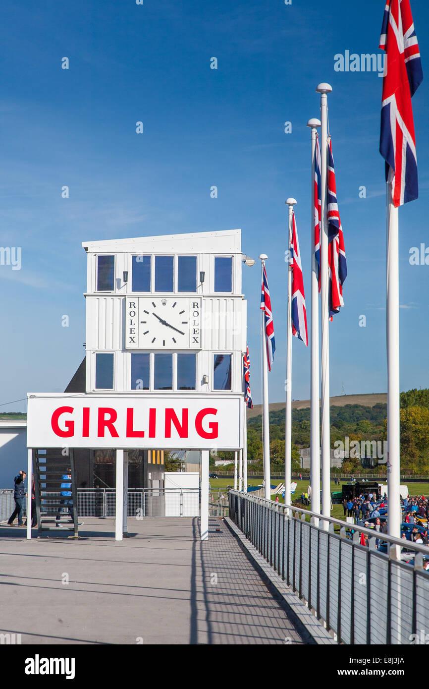 Girling Art-deco-Timing Tower, Goodwood motor Rennstrecke Goodwood, West Sussex UK Stockbild