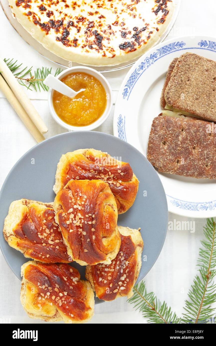 Skandinavisches Frühstück Stockbild