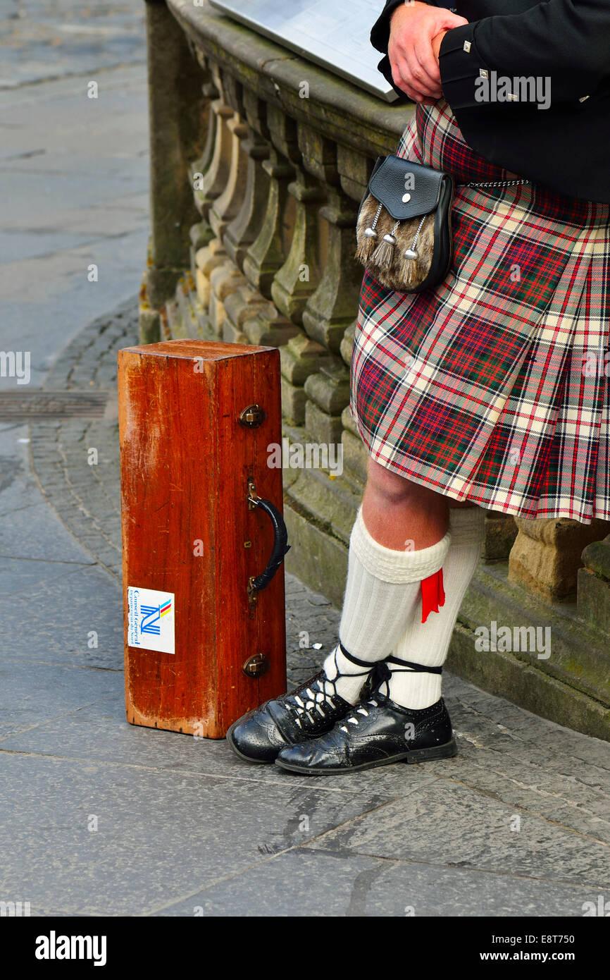 Kilt, Geldbeutel und Dudelsack Fall Sporran, Edinburgh, Schottland, Vereinigtes Königreich Stockbild