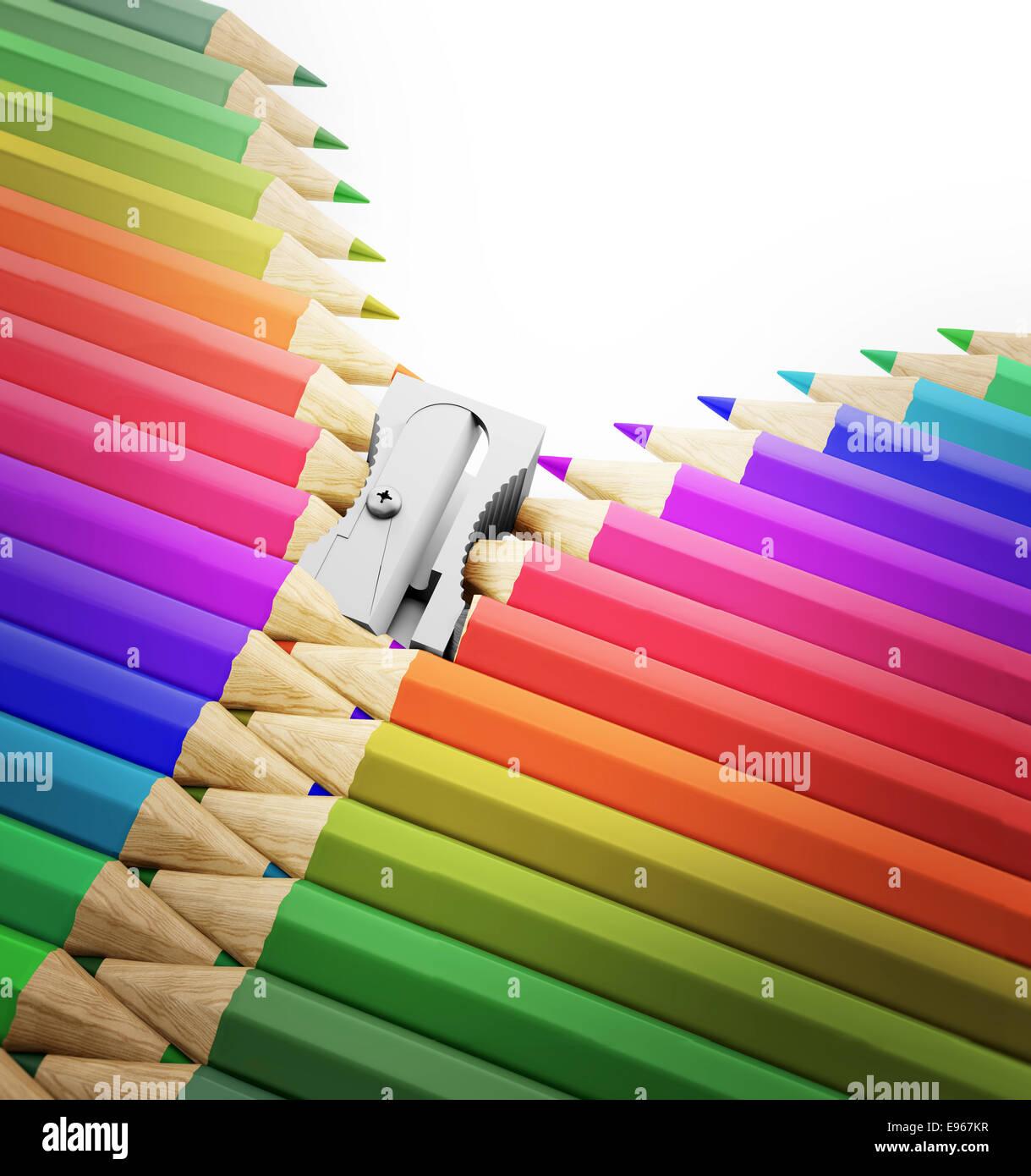 Eine Reihe von Bleistifte und Anspitzer bilden einen Reißverschluss - Kunst, Kreativität und Schule illustration Stockbild