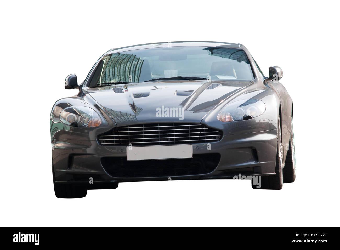 Britische Sportwagen Aston Martin-Vorderansicht Stockbild