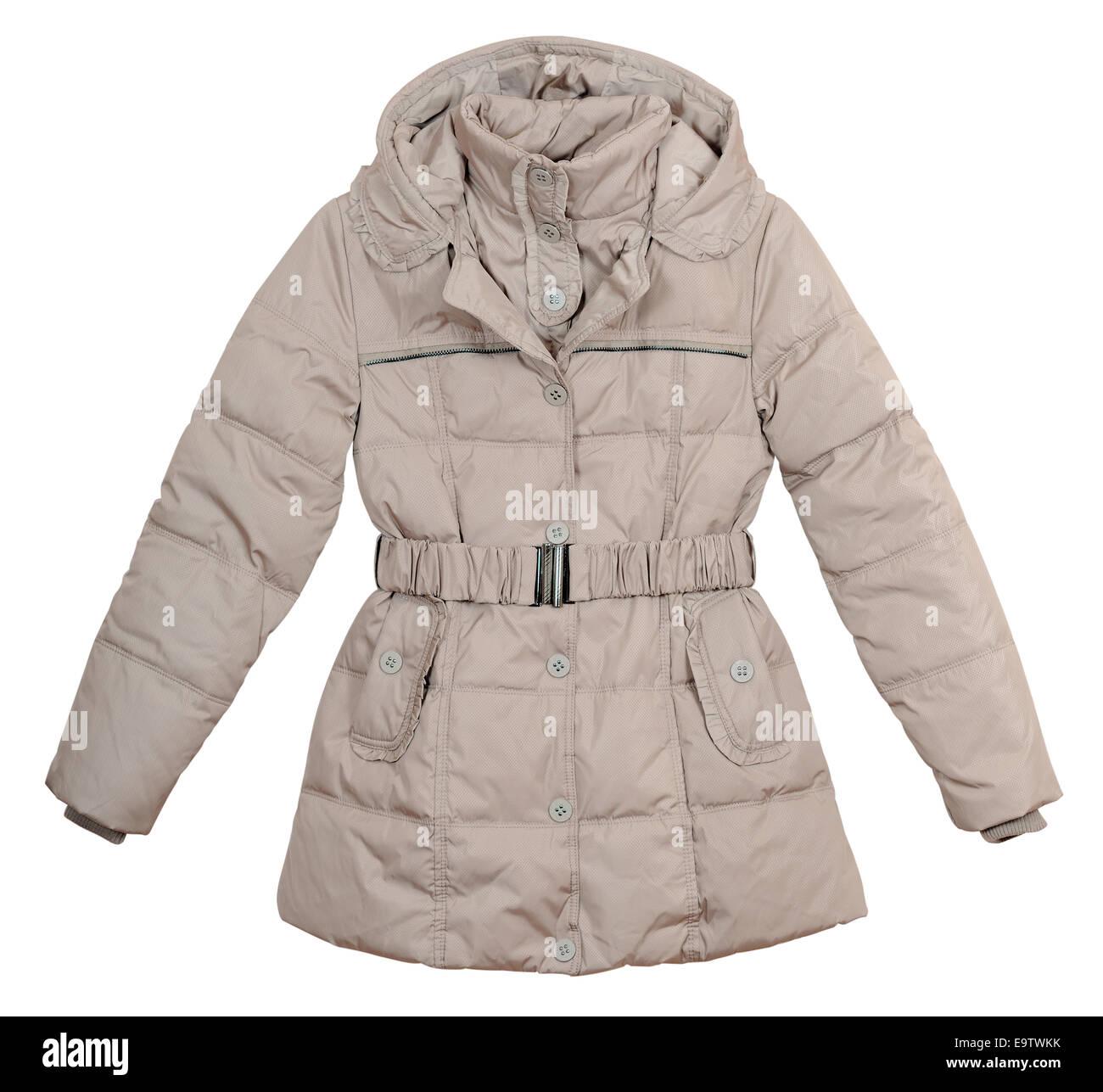 Frauen-leichte Daunenjacke auf weißem Hintergrund Stockbild