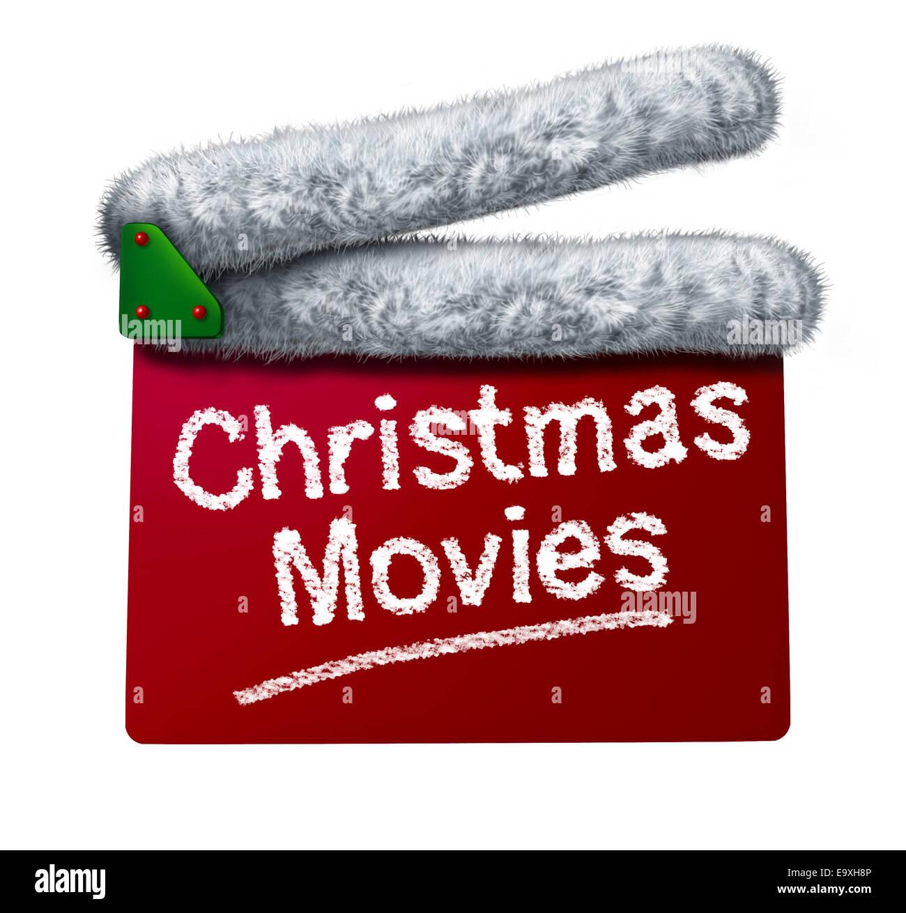 Weihnachts-Filme und Urlaub klassische Kino und TV flicks mit einem roten Klappe und ein Weihnachtsmann Hut weißen Stockbild