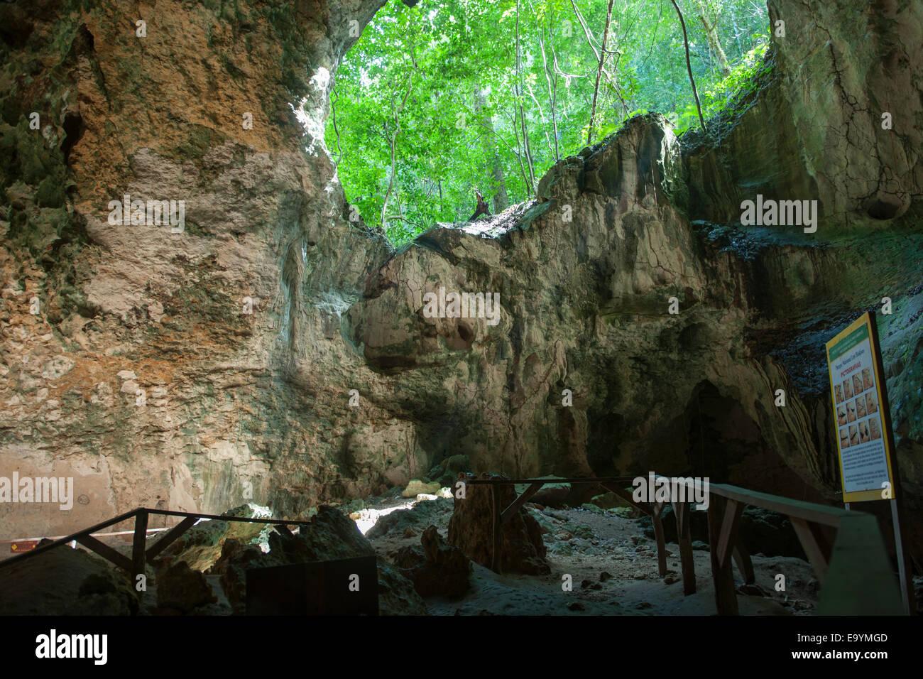 Dominikanische Republik, Osten, Sabana de la Mar, Nationalpark Los Haitises, Cueva de La Linea Stockbild