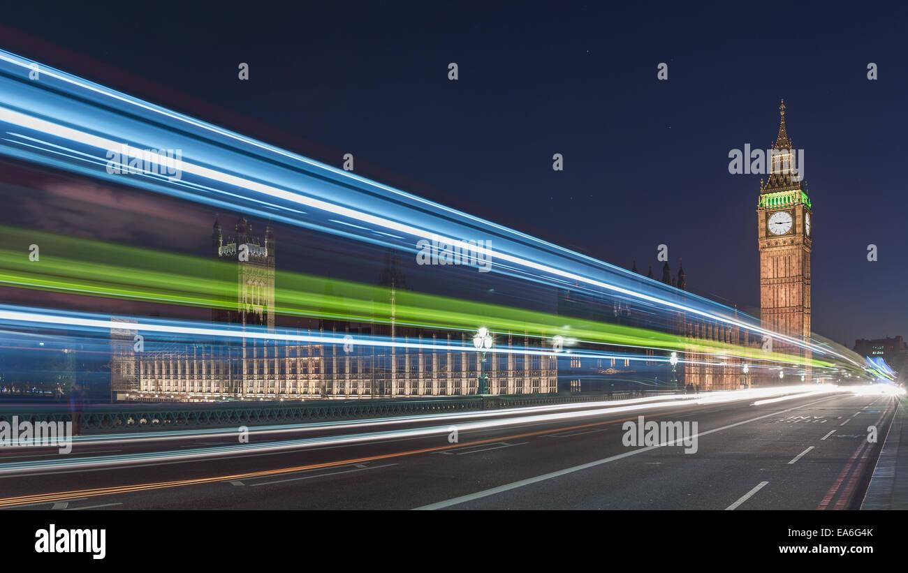 UK, England, London, Big Ben und die Houses of Parliament in der Nacht Stockbild