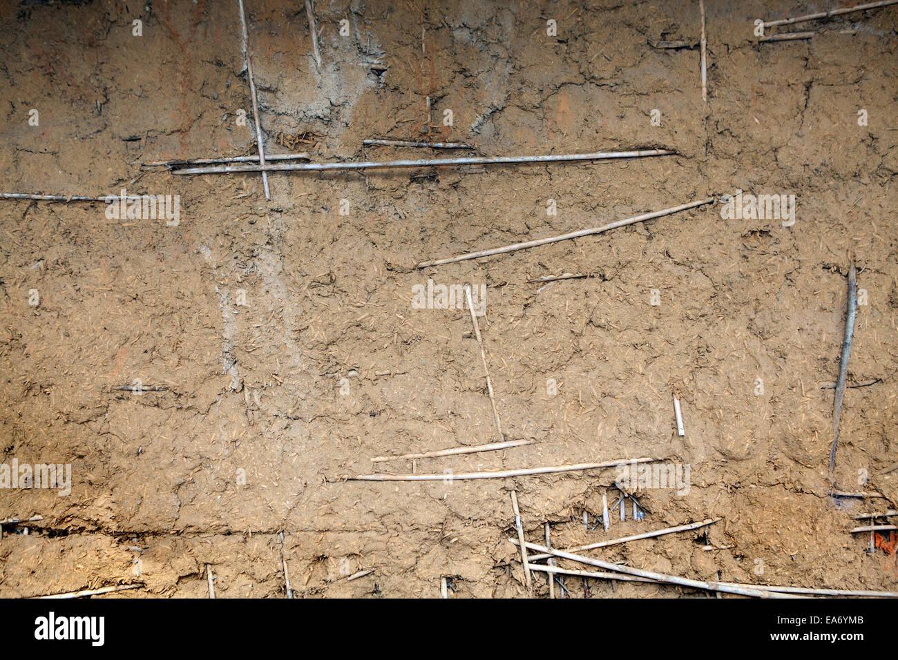 Hintergrund der braunen Adobe-Schlamm und Stroh. Stockbild