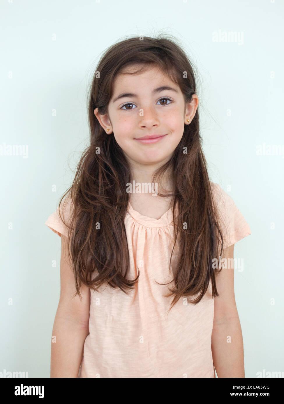 Porträt eines 7-jährigen Mädchens Stockbild