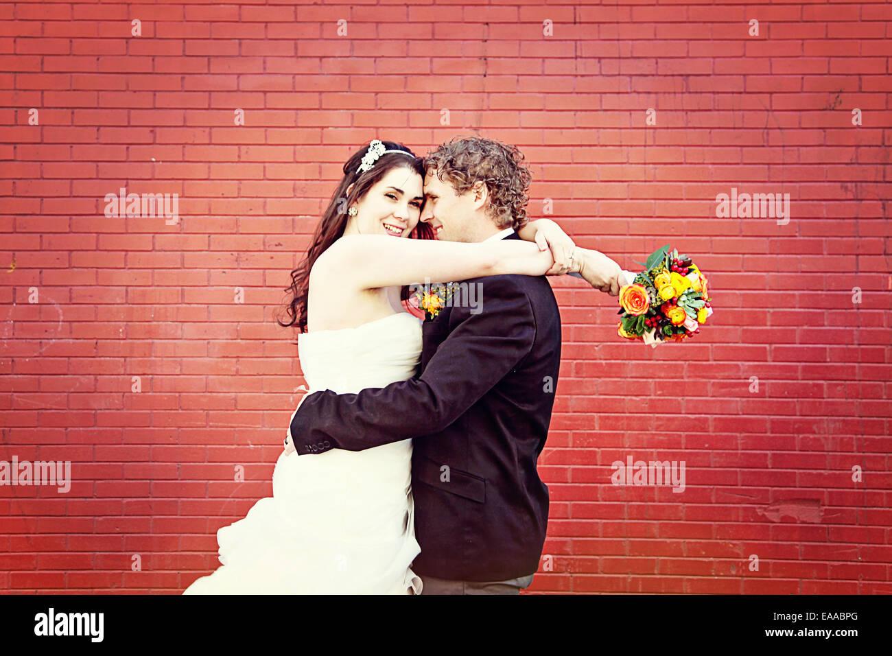 Hochzeitspaar auf Tag - Hochzeit, Braut und Bräutigam Stockbild